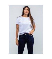camiseta t-shirt lisa feminina gola redonda branco