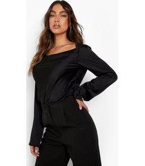 matte satijnen blouse met boothals, black