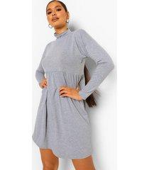 gesmokte jurk met lange mouwen en hoge hals, grey