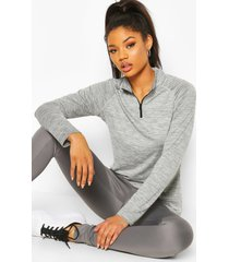 fit woman funnel neck marl top, charcoal