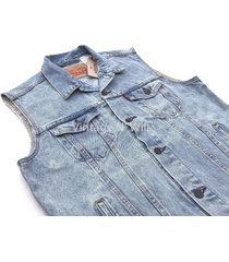 levis jeans mens light blue denim trucker vest ghost red tab sleeveless jacket