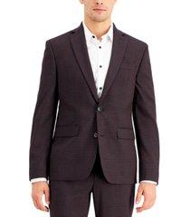 inc international concepts men's slim-fit purple plaid suit jacket, created for macy's