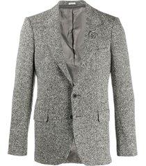 alexander mcqueen brooch-embellished single-breasted blazer - black