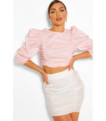 cotton ruched detail top, blush