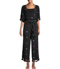 tessora women's fringe-trim sequin jumpsuit - black multi - size s