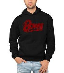 la pop art men's david bowie logo word art hooded sweatshirt