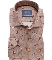 overhemd ledunb bruin print tailored fit