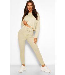 knitted rib blouson sweater and legging co-ord, stone
