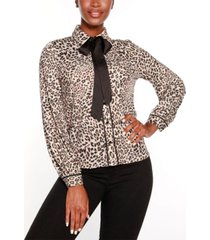 belldini black label button front animal print blouse top with contrast neck tie