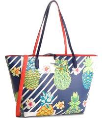 bolsa sacola desigual estampada azul/laranja