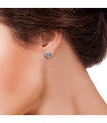 orecchini a lobo cuore in oro bianco e zirconi per donna