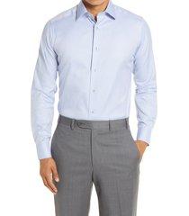 men's big & tall david donahue extra trim fit patterned dress shirt, size 17.5 - 36/37 - blue