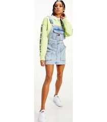 tommy hilfiger women's utility overall dress dusty blue - s