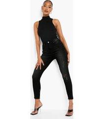 gebleekte skinny jeans met rits, washed black
