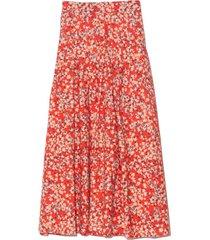 harper skirt in red/sand print