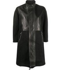 neil barrett casaco de couro com recortes - preto