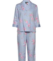 lrl pointed notch collar pj set pyjama blauw lauren ralph lauren homewear