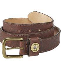bison leather shotshell belt, brown, 42