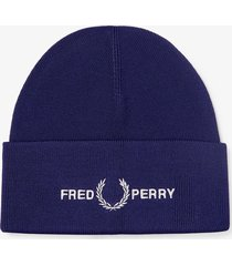 fred perry authentic graphic beanie |navy| c7141-608