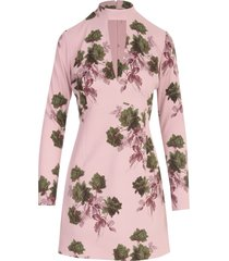 blumarine roses printing l/s mini dress