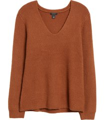 women's halogen balloon sleeve sweater, size xx-large - brown