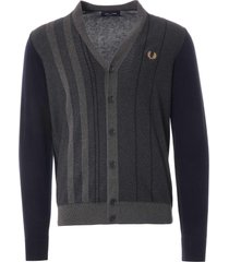 fred perry textured stripe cardigan | navy | k1532-608