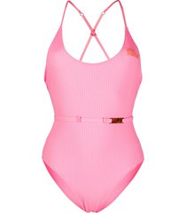 love stories ribbed logo swimsuit - pink
