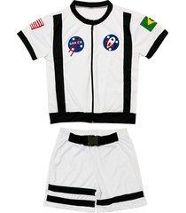 fantasia astronauta shorts e camiseta douvelin branco - branco/preto - menino - poliã©ster - dafiti