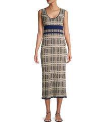 m missoni women's textured plaid midi dress - black - size 40 (4)