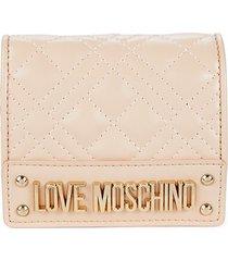 love moschino women's quilted bi-fold wallet - beige