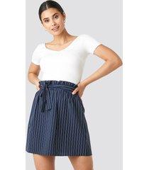 na-kd striped tied waist skirt - blue