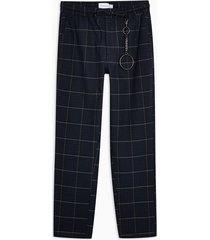 mens navy and yellow check pants with chain
