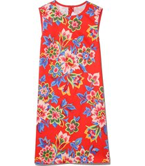 pixel floral shift dress in chili red multi