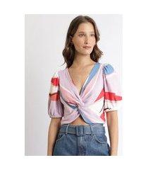 blusa feminina cropped estampada com torção manga curta bufante decote v lilás