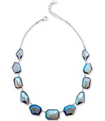 "alfani silver-tone multi-stone statement necklace, 17"" + 2"" extender, created for macy's"