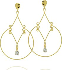brinco dona diva semi joias maxi dourado - dourado - feminino - dafiti