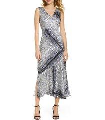 women's sam edelman geometric animal print midi dress, size 8 - blue