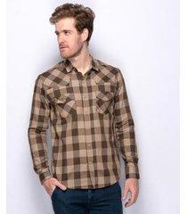 camisa social slim teodoro xadrez western algodão masculina