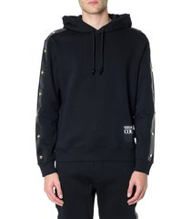 versace jeans couture black cotton hoodie with metal studs