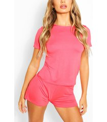 basis-t-shirt en shortset, koraal