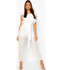 broderie anglais ruffle jumpsuit, ivory