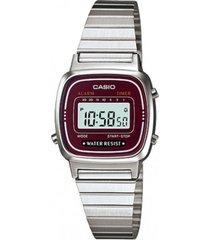 la-670wa-4df reloj digital plateado dama