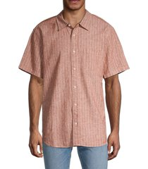 madewell men's perfect-fit striped linen-blend shirt - pink - size m