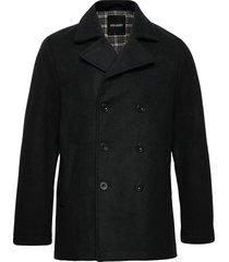peacoat wollen jas lange jas zwart lyle & scott