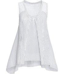 top in misto lino con fondo a punte (bianco) - bodyflirt