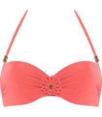 la flor plunge balcony bikini top | wired padded salmon - 36dd/e