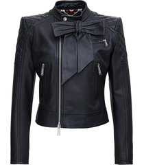 dsquared2 black leather jacket with bow detail