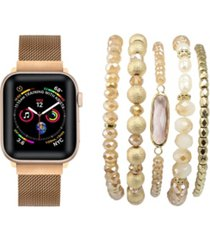 unisex rose gold tone skinny metal loop band for apple watch and bracelet bundle, 42mm