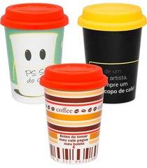 conjunto de 3 copos trip 300ml artista/sou do chã¡/cafã© - multicolorido - dafiti