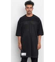 t-shirt black mesh long tee w/ snaps